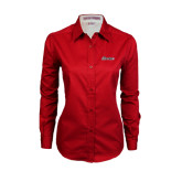 Ladies Red Twill Button Down Long Sleeve-Cavaliers Script