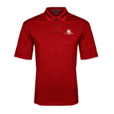 Red Performance Fine Jacquard Polo-University Mark Stacked