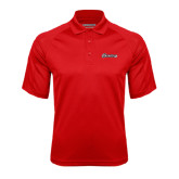 Red Textured Saddle Shoulder Polo-Cavaliers Script