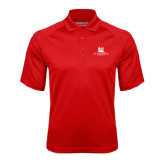 Red Textured Saddle Shoulder Polo-University Mark Stacked