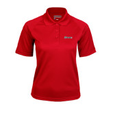 Ladies Red Textured Saddle Shoulder Polo-Cavaliers Script