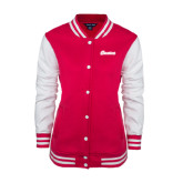 Ladies Pink Raspberry/White Fleece Letterman Jacket-Cavaliers Script