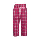 Ladies Dark Fuchsia/White Flannel Pajama Pant-Cavaliers Script