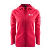 Ladies Tech Fleece Full Zip Hot Pink Hooded Jacket-Cavaliers Script