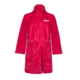 Ladies Pink Raspberry Plush Microfleece Shawl Collar Robe-Cavaliers Script