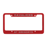 Metal Red License Plate Frame-Cavaliers