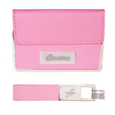 Business Card Case and Key Ring Set Pink-Cavaliers Script Engraved