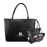 Sophia Checkpoint Friendly Black Compu Tote-University Mark Stacked