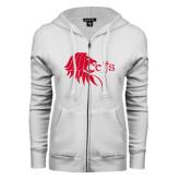 ENZA Ladies White Fleece Full Zip Hoodie-Lion Head w/ Celts