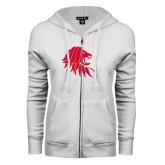 ENZA Ladies White Fleece Full Zip Hoodie-Lion Head