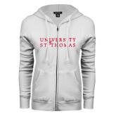 ENZA Ladies White Fleece Full Zip Hoodie-University of St Thomas