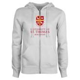 ENZA Ladies White Fleece Full Zip Hoodie-Vertical Shield University of St Thomas Houston