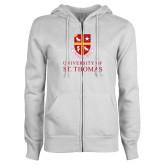 ENZA Ladies White Fleece Full Zip Hoodie-Vertical Shield University of St Thomas