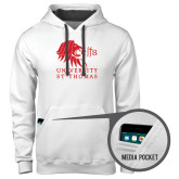 Contemporary Sofspun White Hoodie-Official Logo