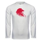 Performance White Longsleeve Shirt-Lion Head