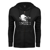 ENZA Ladies Black Fleece Full Zip Hoodie-Official Logo
