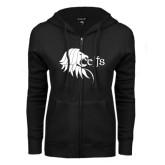 ENZA Ladies Black Fleece Full Zip Hoodie-Lion Head w/ Celts