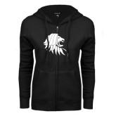ENZA Ladies Black Fleece Full Zip Hoodie-Lion Head