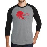 Grey/Black Tri Blend Baseball Raglan-Lion Head w/ Celts