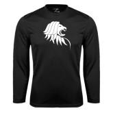 Performance Black Longsleeve Shirt-Lion Head