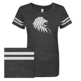 ENZA Ladies Black/White Vintage Triblend Football Tee-Lion Head w/ Celts White Soft Glitter