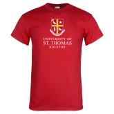 Red T Shirt-Vertical Shield University of St Thomas Houston