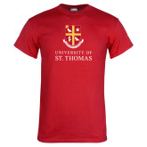 Red T Shirt-Vertical Shield University of St Thomas