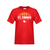Youth Red T Shirt-St. Thomas Basketball Half Ball