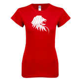 Next Level Ladies SoftStyle Junior Fitted Red Tee-Lion Head