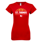 Next Level Ladies SoftStyle Junior Fitted Red Tee-St. Thomas Basketball Half Ball