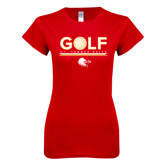 Next Level Ladies SoftStyle Junior Fitted Red Tee-Golf w/ Ball