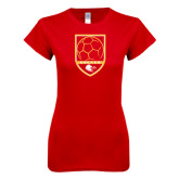 Next Level Ladies SoftStyle Junior Fitted Red Tee-Soccer Shield