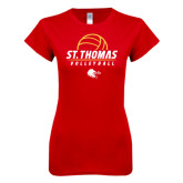Next Level Ladies SoftStyle Junior Fitted Red Tee-St. Thomas Volleyball Stacked