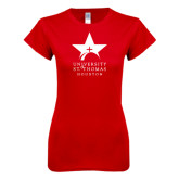 Next Level Ladies SoftStyle Junior Fitted Red Tee-Star Logo