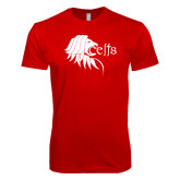 Next Level SoftStyle Red T Shirt-Lion Head w/ Celts