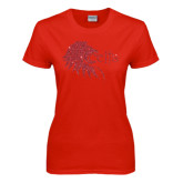 Ladies Red T Shirt-Lion Head w/ Celts Red Glitter