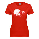 Ladies Red T Shirt-Lion Head w/ Celts