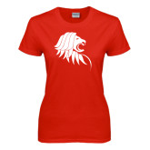 Ladies Red T Shirt-Lion Head
