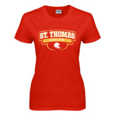 Ladies Red T Shirt-St. Thomas Celts Arched Shield
