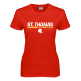 Ladies Red T Shirt-St. Thomas Celts w/ Bar