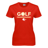 Ladies Red T Shirt-Golf w/ Ball