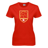 Ladies Red T Shirt-Soccer Shield