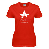 Ladies Red T Shirt-Star Logo
