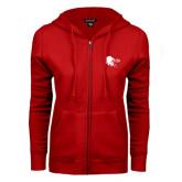ENZA Ladies Red Fleece Full Zip Hoodie-Lion Head w/ Celts