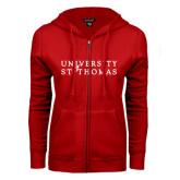 ENZA Ladies Red Fleece Full Zip Hoodie-University of St Thomas