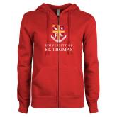 ENZA Ladies Red Fleece Full Zip Hoodie-Vertical Shield University of St Thomas
