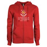 ENZA Ladies Red Fleece Full Zip Hoodie-Vertical Shield University of St Thomas Houston