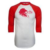 White/Red Raglan Baseball T-Shirt-Lion Head w/ Celts