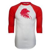 White/Red Raglan Baseball T-Shirt-Lion Head