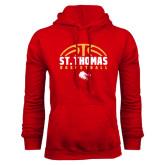 Red Fleece Hoodie-St. Thomas Basketball Half Ball
